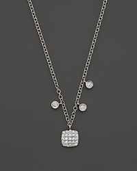 Meira T 14K White Gold Square Pave Diamond Disc Necklace