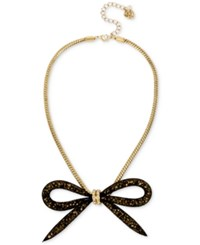 Betsey Johnson Gold Tone Large Mesh Bow Statement Necklace