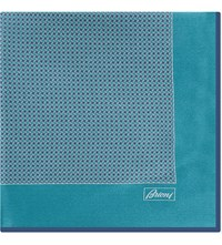 Brioni Houndstooth Silk Pocket Square Green