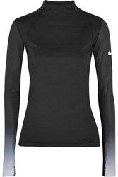 Nike Pro Hyperwarm Mesh Paneled Cotton Blend Jersey Top Black