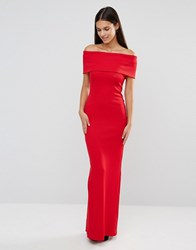 City Goddess Bandeau Maxi Dress With Split Detail Red