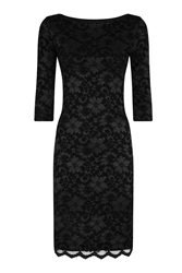Hotsquash Red Long Sleeved Lace Dress With Thinheat Black