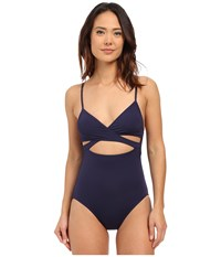 Vince Camuto Cruise Halter Maillot W Removable Soft Cups Navy Women's Swimsuits One Piece