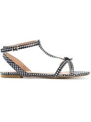 Armani Jeans Checked Flat Sandals Black