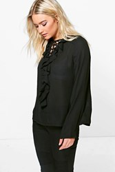 Boohoo Lace Up Ruffle Shirt Black