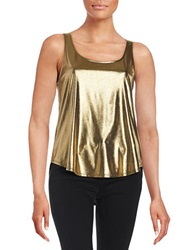 Design Lab Lord And Taylor Metallic Hi Lo Tank Gold