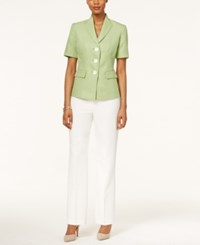 Le Suit Colorblocked Three Button Tweed Pantsuit Green White