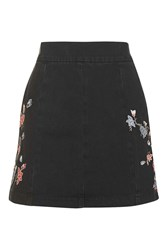 Topshop Moto Embroidered Denim Skirt Washed Black