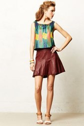 Anthropologie Vegan Leather Skater Skirt Wine