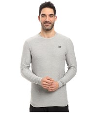 New Balance Transit Long Sleeve Top Athletic Grey Men's Long Sleeve Pullover Gray