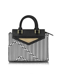 Vionnet Shopping 20 Orchid White And Black Optical Print Leather Mini Tote Bag W Shoulder Strap