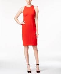Calvin Klein Sleeveless Halter Sheath Dress Red