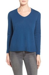Eileen Fisher Boxy Wool V Neck Pullover Blue