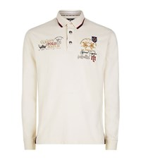 La Martina Long Sleeve Jersey Logo Polo Shirt Male Cream