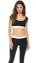 Solow Crop Workout Tee Black White
