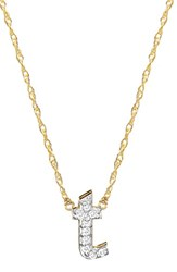 Jane Basch Designs Women's Jane Basch Diamond Initial Pendant Necklace Gold T