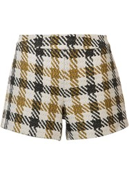 Alice Olivia Plaid Short Shorts Nude And Neutrals