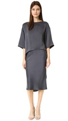 Narciso Rodriguez Silk Cocktail Dress Charcoal