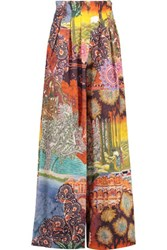 Stella Jean Printed Cotton Wide Leg Pants Multi