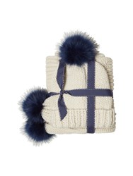 White Stuff Rennie Fur Pom Hat And Scarf Set White