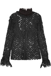 Anna Sui Magical Mystery Ruffled Crochet Lace And Mesh Blouse Black