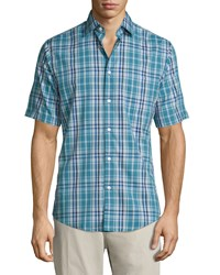Neiman Marcus Classic Fit Non Iron Check Short Sleeve Sport Shirt Green Blue