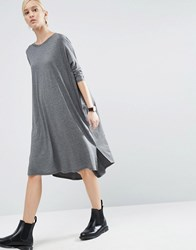 Asos Oversize T Shirt Dress With Curved Hem Charcoal Marl Grey