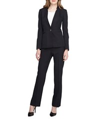 Tahari By Arthur S. Levine Petite One Button Pinstripe Pant Suit Black White