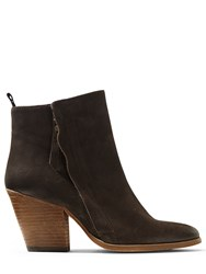 Jigsaw Adyson Side Zip Suede Boot Chocolate