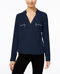 Inc International Concepts Zip Pocket Surplice Blouse Only At Macy's Deep Twilight