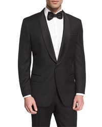 Hugo Boss Satin Peak Lapel Textured Slim Tuxedo Jacket Black Men's