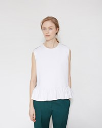 Marni Ruffle Tank Top Graphite And Lily White