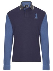 Hackett London Long Sleeve Number Jersey Polo Shirt Navy Grey