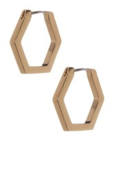 Marc By Marc Jacobs Hexagon Huggie Hoop Earrings Metallic