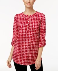 Charter Club Batik Print Henley Top Only At Macy's New Red Amore Combo