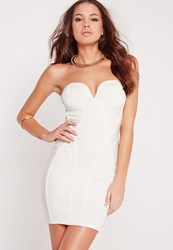 Missguided Premium Strapless Bandage Bodycon Dress White White