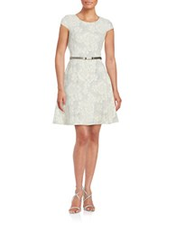 Tommy Hilfiger Embossed Floral Fit And Flare Dress Vanilla Multi
