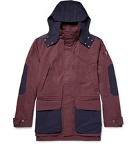 The Workers Club Worker Hooded Two Tone Cotton Canva Jacket Burgundy