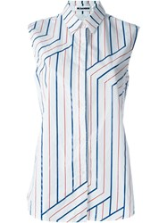 Jil Sander Sleeveless Striped Shirt White