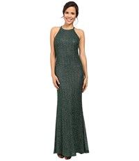 Badgley Mischka All Over Beaded Halter Gown Emerald Women's Dress Green