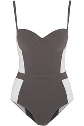 Tory Burch Lipsi Color Block Swimsuit Gray