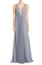Monique Lhuillier Bridesmaids Women's Deep V Neck Chiffon And Tulle Gown Steel
