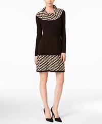 Jessica Howard Petite Cowl Neck Sweater Dress Black Tan