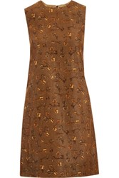 Dolce And Gabbana Printed Cotton Corduroy Mini Dress Chocolate