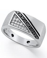 Macy's Men's Black And White Diamond Ring In Sterling Silver 1 4 Ct. T.W.