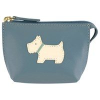 Radley Heritage Dog Small Leather Coin Purse Light Blue