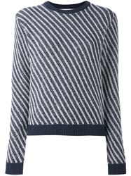 Julien David Striped Jumper Blue