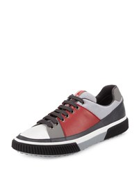 Prada Linea Rossa Leather And Mesh Low Top Sneaker Red Gray Red Gray