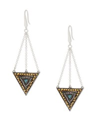 Steve Madden Silvertone Multi Colored Pave And Ball Beaded Triangle Earrings