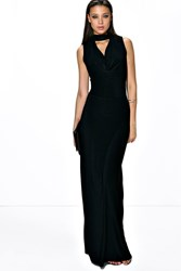 Boohoo Flo High Open Neck Maxi Dress Black